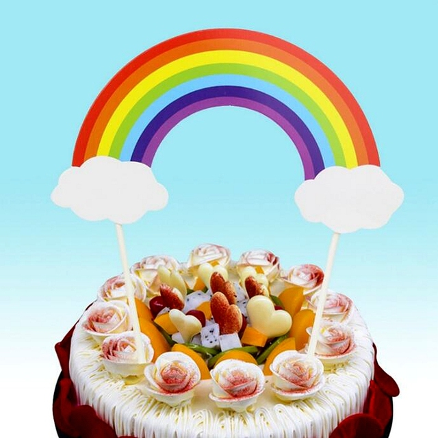 Big Colorful Rainbow Multicolor Bridge Clouds Cupcake Topper Pick