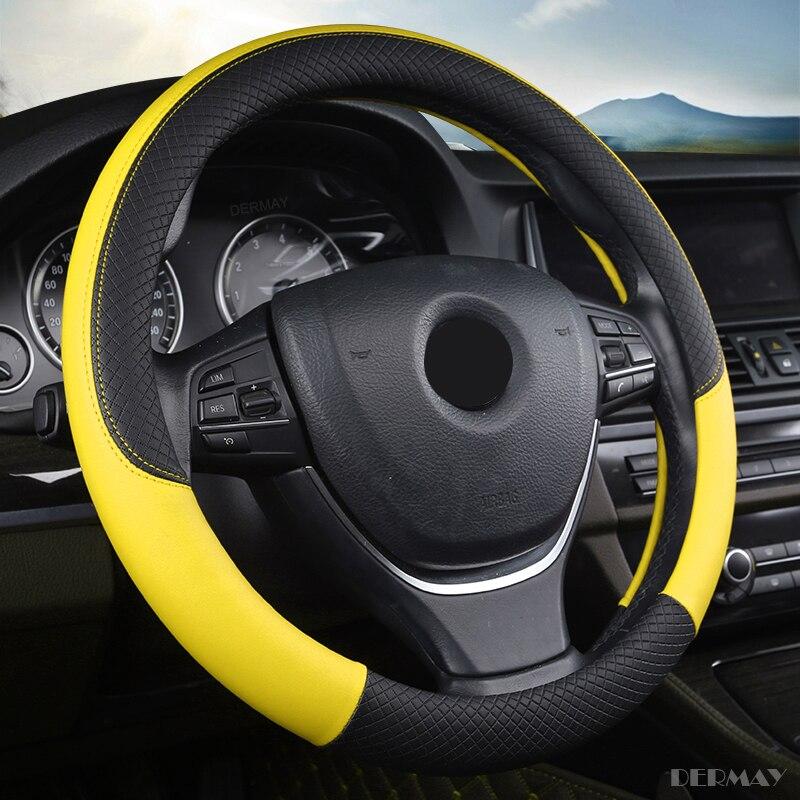 Funda de volante de microfibra de cuero talla M para la mayoría de los coches