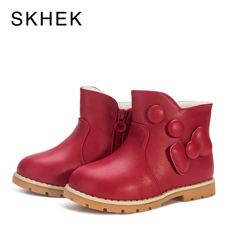 SKHEK เด็กฤดูหนาวรองเท้าบู๊ตรองเท้าเด็กฤดูหนาวรองเท้าเด็กสำหรับสาวเด็กหนังลื่นอบอุ่นแนวโน้มแฟชั่นสูงรองเท้า A551