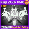 8Gifts Unpainted Full Fairing Kit For KAWASAKI NINJA ZX 6R 07 08 ZX6R ZX 6R 6