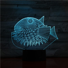 3D Visual Night Light Sea Animal Shark Jellyfish Dolphin Touch Switch home Decor Lamp LED RGB Colors 3d led lighting lamp