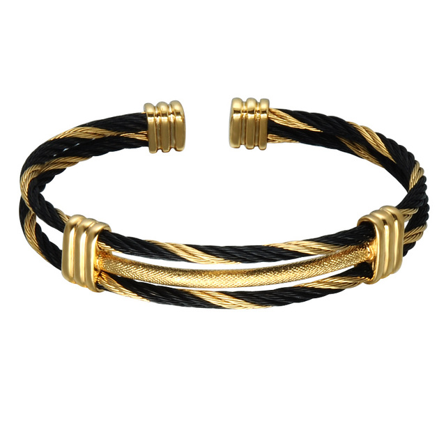 cable bangle gold com stainless twisted cuff dp mens bracelet dragon amazon bangles adjustable tone steel