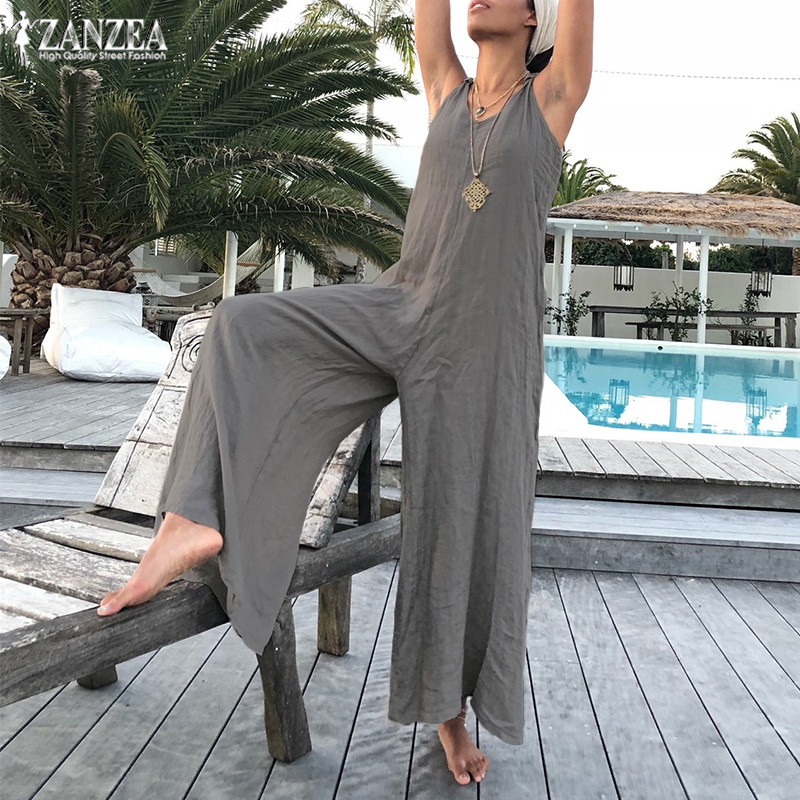 Plus Size Jumpsuits Women's Overalls 2020 ZANZEA Stylish Wide Leg Pants Rompers Sexy V Neck Playsuits Pantalon Combinaison Femme