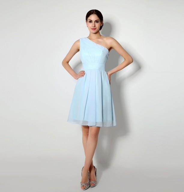 New Fashion A-Line Chiffon Scalloped Sleeveless Cocktail Dresses One Shoulder Sashes Pleat Formal Dress Party Ball Gowns