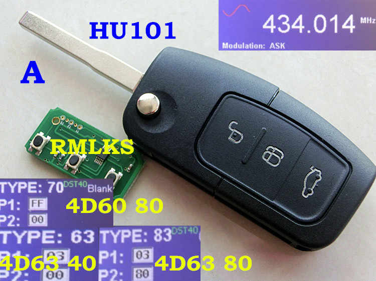 RMLKS جديد مفتاح بعيد فوب 3 أزرار 315MHz 433MHz 4D63 40bit ID83 4D60 80Bit رقاقة صالح لفورد فوكس فييستا C ماكس كا HU101 شفرة