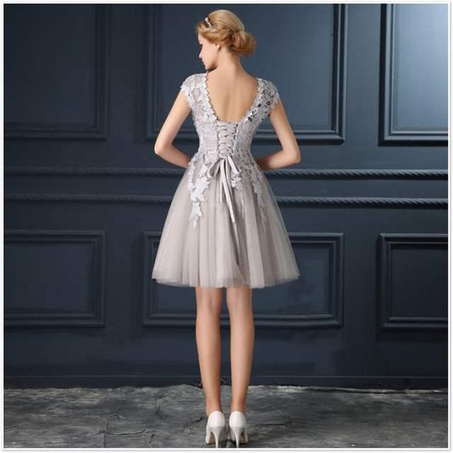 placeholder ruthshen Robe De Soiree Mini Short Champagne Gray Short  Cocktail Dresses 2018 Cap Sleeve Vestidos Coctel 92fa8cc3a005