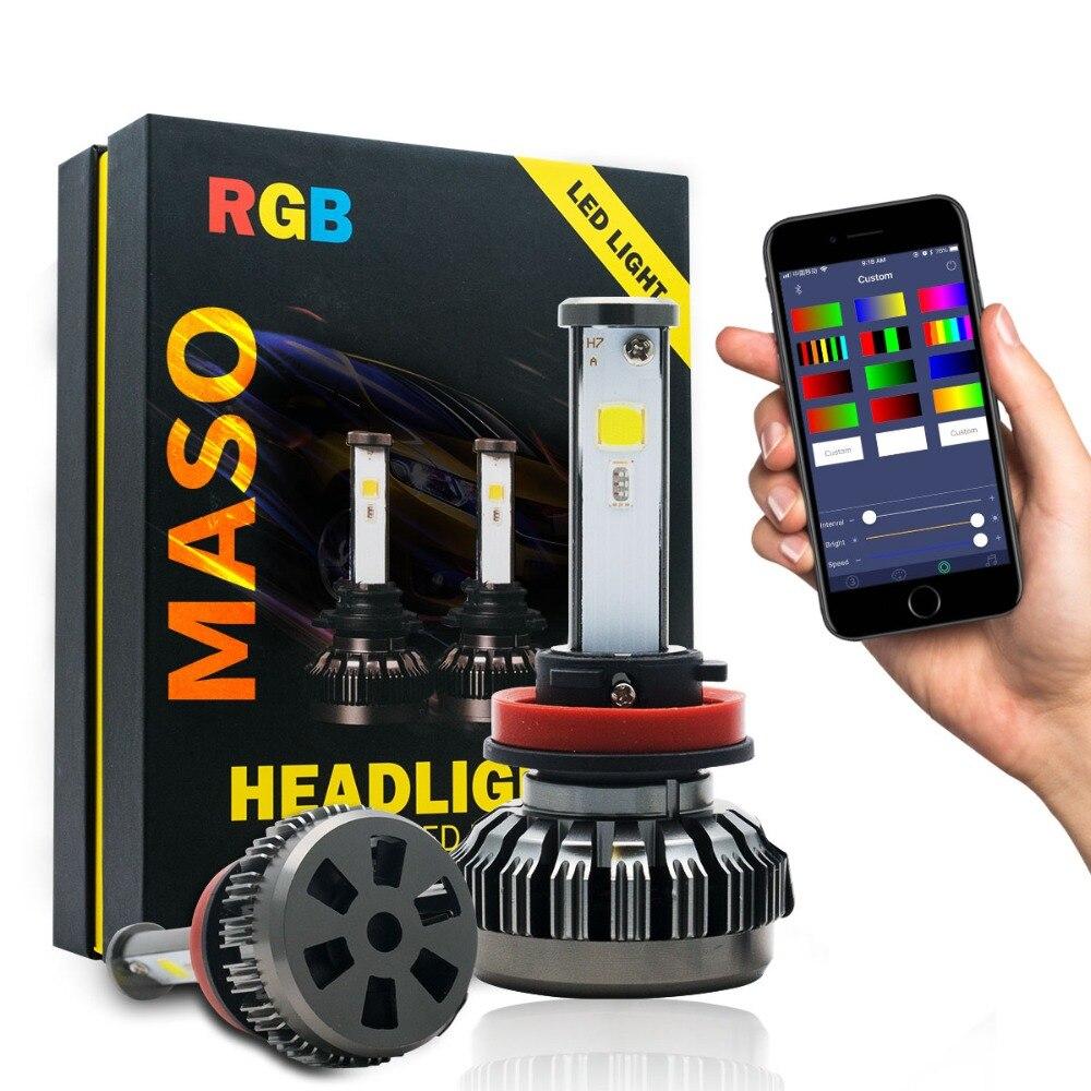 H4 H7 H11 RVB LED kit de Conversion de Phare de Voiture De H4 H7 APPLICATION Bluetooth Contrôle H8 H9 H11 Voiture lumière LED Projecteur multicolore ampoule LED