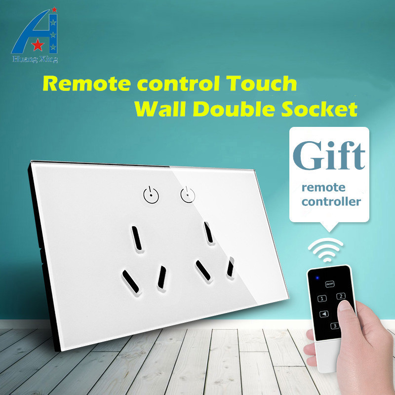HUANGXING, AU/US standard Double plug Wall Socket With Remote Control, Tempered glass panel With ON/OFF touch switch, 15A 240V us au eu plug seat socket 2 gange on off switch wall mount plate ac 250v 10a