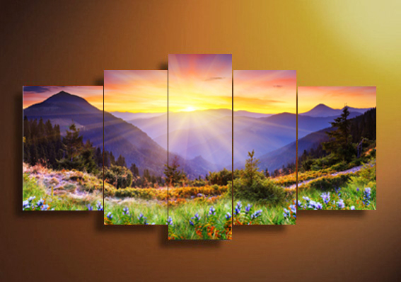 Shopping gratuito 5 Panel Forest Painting Mountain forest sunshine - Home decor