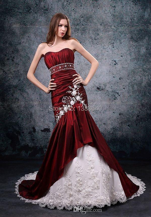Gorgeous Mermaid Satin Burgundy White Wedding Dresses Vestidos De