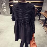 Big Size 4XL Maternity Dress Spring and Autumn Fat Mm Long Pregnant Women's Shirt Women Blouses Black Cotton Fashion