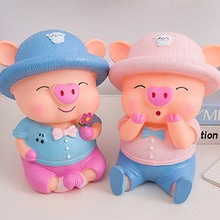 24cm UNBreak Cute Cartoon Pig PIGGY Bank Coin Money boxes Plastic PVC Still Savings Toy Cash Safe Box child lovers gift 1piece