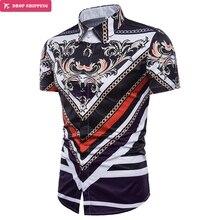 zemtoo 2018 New MenS Short-Sleeved Dress Shirt Casual Tops Slim 3D Print Fashion Male Luxury Men XXXL