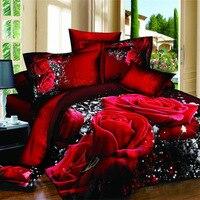 Coxeer Floral Bettwäsche Set 3D Blumen Gedruckt Polyester 230x200cm Bettbezug Bettlaken mit Kissen Sham Tröster Bettwäsche sets-in Bettwäsche-Sets aus Heim und Garten bei