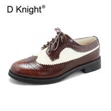 Hot Selling Women Genuine Leather Lace Up Oxford Shoes Vintage Cow Carved Bullock Oxfords For Ladies Casual Flats
