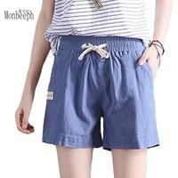 MONBEEPH 2018 new summer 7 color style linenl thin black white blue women Harem women short femme Drawstring high waist shorts