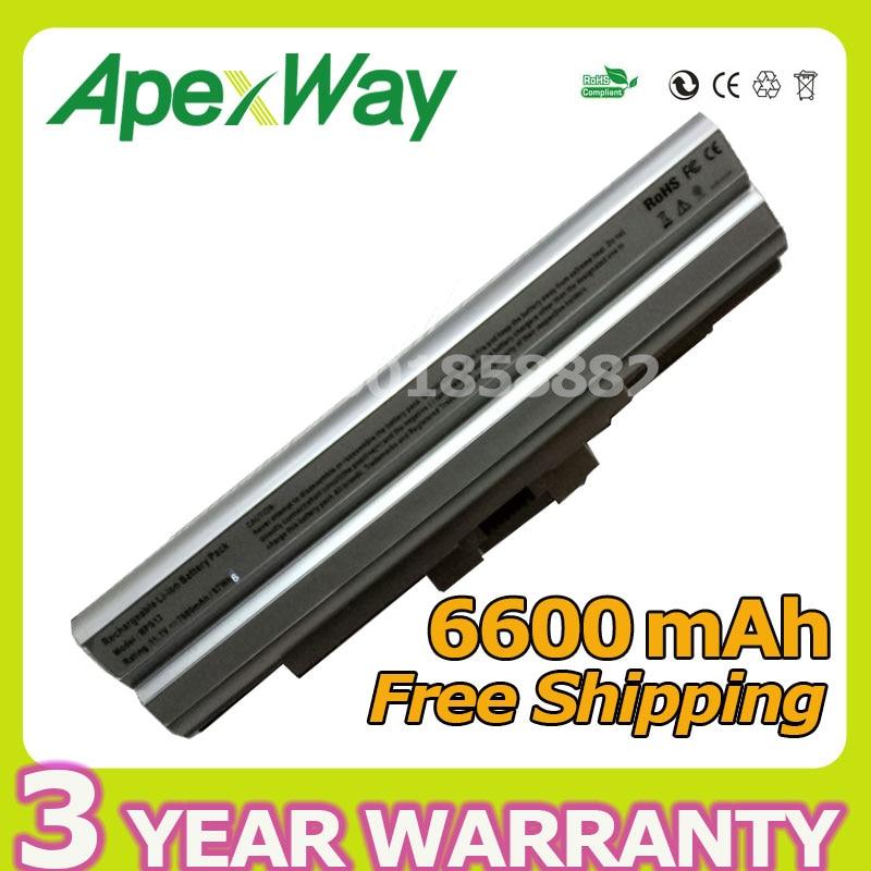Apexway 6600mAh 11.1V Silver Battery for BPS13 BPS21 VGP-BPL13 VGP-BPL21 for PCG VAIO SVE Series VPC-F VPC-M