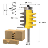 8mm Shank Rail Reversible Finger Joint Glue Router Bit Cone Tenon Woodwork Cutter Power Tools