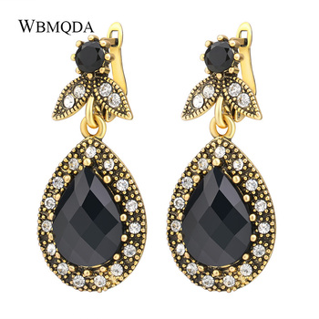 ba462bccf8403 2018 Fashion Vintage Jewelry Crystal Earrings For Women Color Gold Water  Droplets Pendant Black Earrings Engagement Gift India