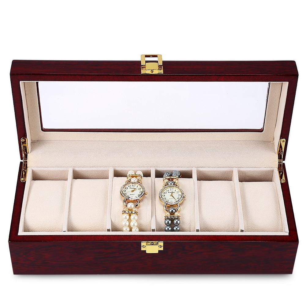 ФОТО 2017 New 6 Slots Watch Box Case Wood Watch Jewelry Display Collection Storage Watch Organizer Reloj Relogios Bracelet Watch Box