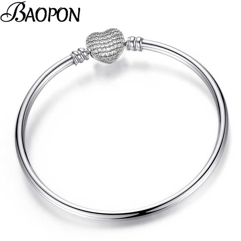 BAOPON New Crystal Heart Shape Charm Bracelet Bangles For Women Girls Fine Bracelets Bangles Female Diy Jewelry Dropshipping