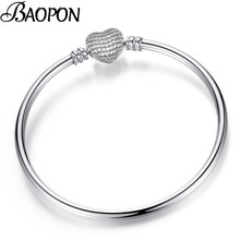 BAOPON New Crystal Heart Shape Charm Bracelet Bangles For Women Girls Pandora Bracelets Bangles Female Diy Jewelry Dropshipping(China)