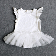 Cute Cotton Baby Girl Body Suit Flying Angel White Lace Tutu Skirt Newborn Infant Summer Rompers Baby Clothes Wear 3-24M