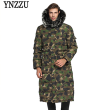 Brand 2018 New Men's Winter Jacket Solid with Large Real Raccoon Fur Collar Hood Warm Duck Down Jacket Men Long Outwear CO131