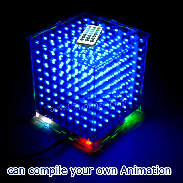 3D8 mini Cubeeds LED DIY KIT with excellent animations /3D CUBEEDS 8 8x8x8 Junior, 3D LED Display,support Ardino