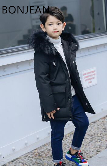 Children's down jacket boy long section 2018 winter new Korean fashion thick coat in the big boy down jacket цена