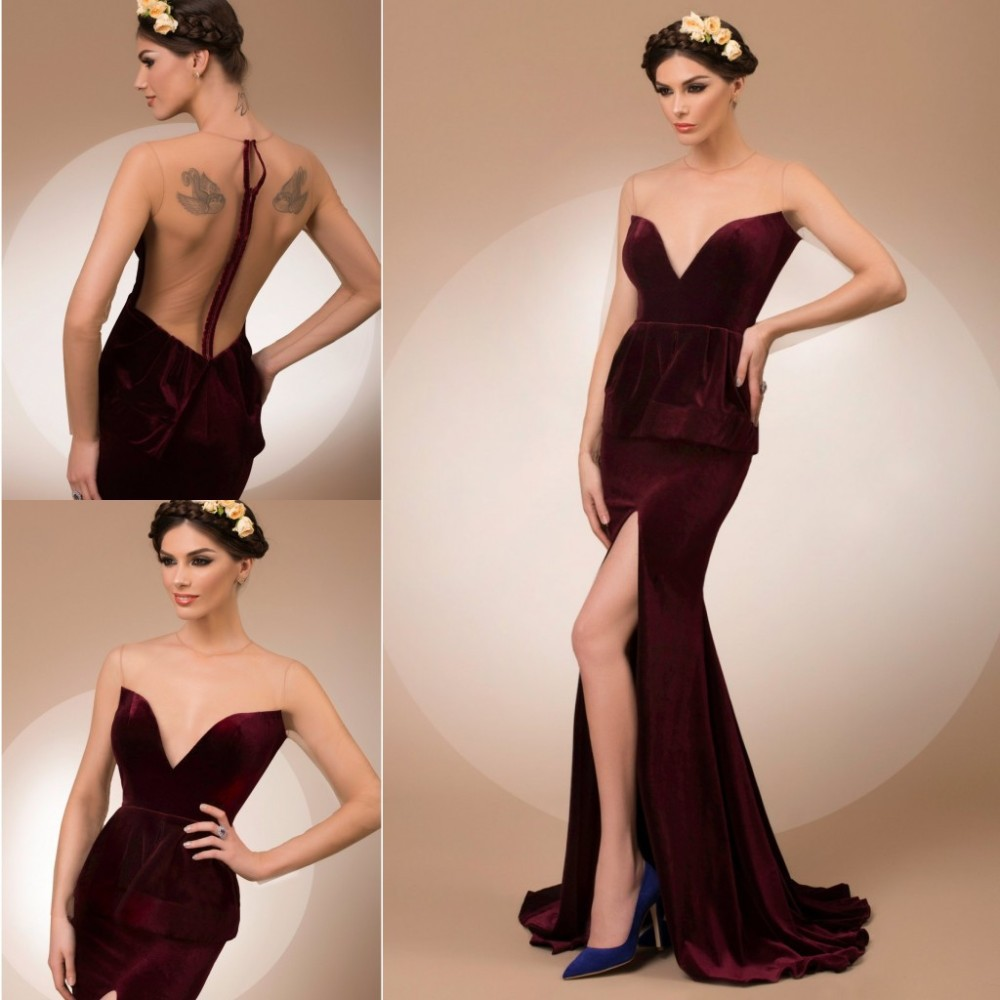 Custom made  Sexy Split Side Long Evening Dresses ...