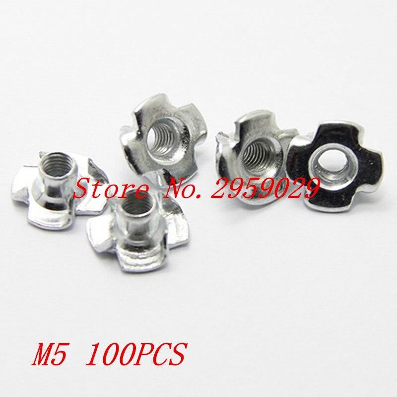 100pcs/lot M5 Captive T Nuts Pronged Tee Nuts Blind Nuts Zinc Plated Carbon Steel Metric Assortment Kit