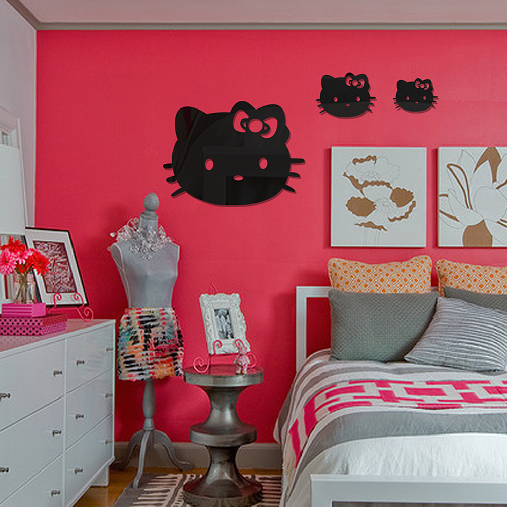 Hello kitty bedroom wall stickers - Children Bedroom Adornment Sticker Pet Hello Kitty Mirror Wall Stickers Stickers