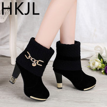 HKJL 2019 winter new thick with womens boots high-heeled frosted wool in the Martin women Z041