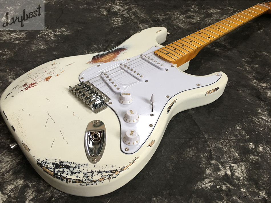 Lvybest S T relice old aged electric guitar,maple neck and fingerboard,Solid white wear off,chrome parts,SSS pickups,free ship!