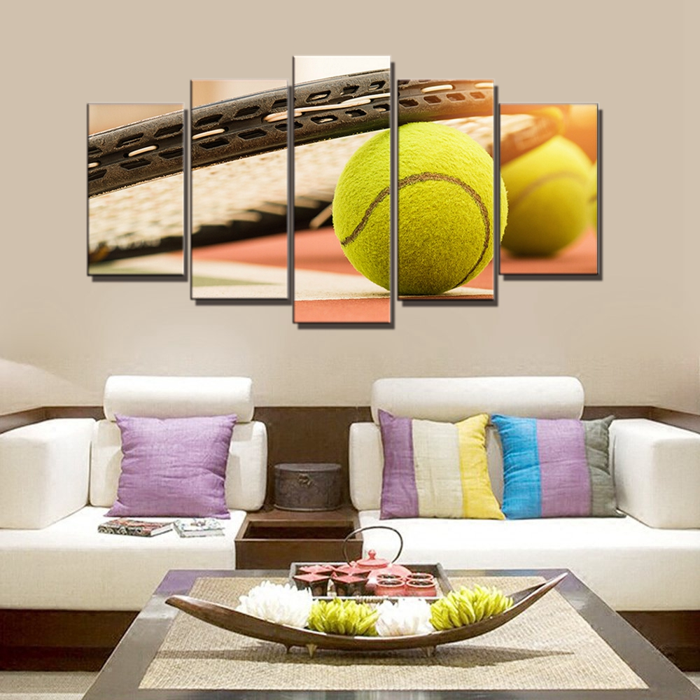 Fantastic Us 16 72 16 Off Wall Art Poster Tennis Balls Sport Modular Canvas Painting For Kids Bedroom Wall Decor 5 Panels Wall Art Print Picture Wholesale In Interior Design Ideas Oteneahmetsinanyavuzinfo