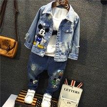2018 New High quality Spring Autumn Fashion cartoon mickey girls denim Outerwear,fit for 2-7y Children coats girls denim Jacket