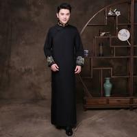 Black Groomsman Chinese Wedding Cheongsam Traditional Style groom best man Evening Dress Long Gown Qipao Mens Size S XL