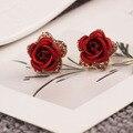 O Envio gratuito de Moda Brincos de Cristal Austríaco Para As Mulheres Rose Banhado A Ouro Jóias flor azul brincos de presente vermelha