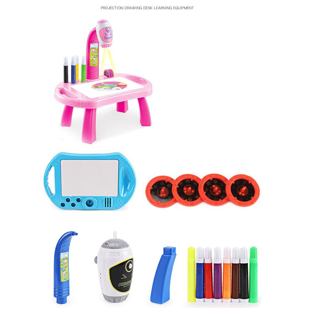Часы мультики проекционный чертеж машина проектор пластиковый свет светодиодный свет девушка игрушки коллекция Мода Дети обучения Корона