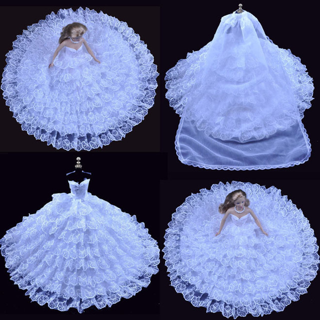 Free shipping Evening Dress Party 8 layers of luxury white wedding Outfit Gown Skirt for Barbie Doll