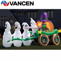 8mL*2mH giant inflatable pumpkin carriage customized logo commercial inflatable ghost carriage halloween decoration for rental