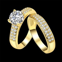 YANHUI Fashion Jewelry New Gold Filled CZ Zircon Finger Ring Set Wedding Gift for Women Ladies Ring Wholesale YR501