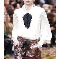 Cosmicchic 2019SS Runway Silk Shirt White Blouse Fashion Long Lantern Sleeve With Black Bow Designers