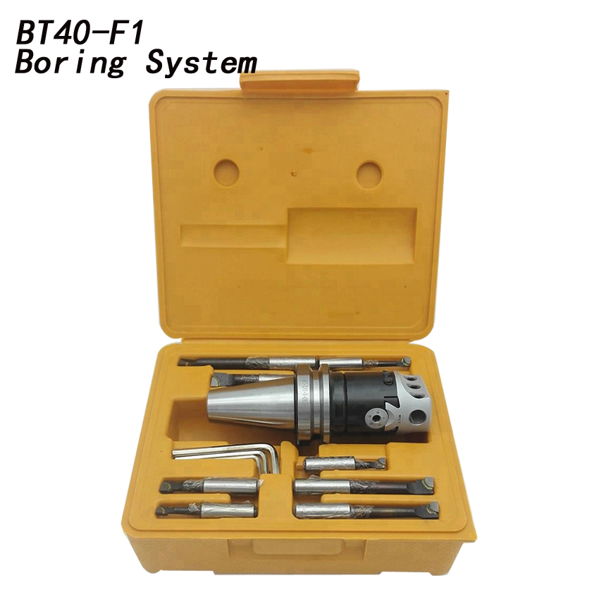 top quality BT40 M16 Arbor F1 -12 75mm boring head and 9pcs 19mm boring bars, boring head set цены