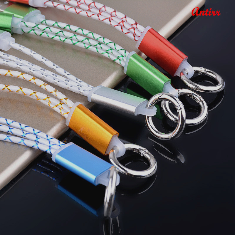 Antirr Fast 2in1 Micro USB 8pin Metal Keychain USB Sync Data Charger Cable  For IPhone 5 5s 6 6s 7plus Andirod Samsung A40