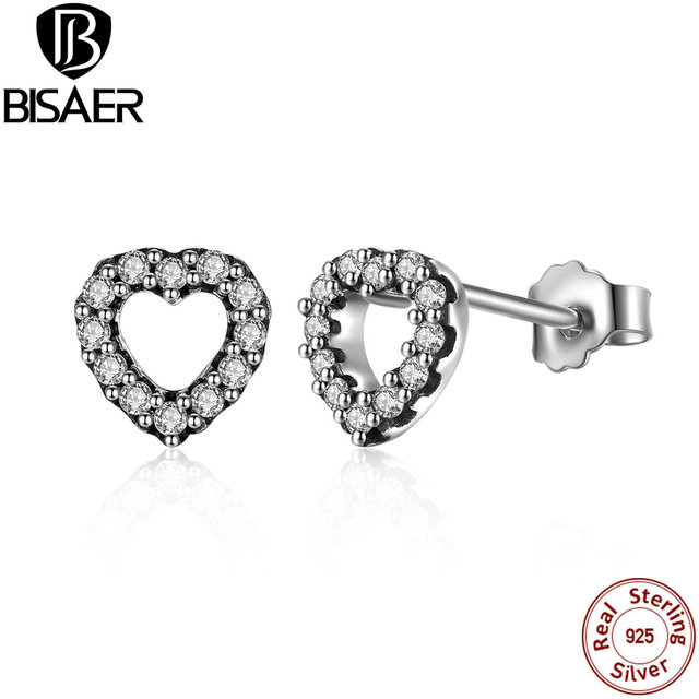 417453285 Romantic Popular 925 Sterling Silver Be My Valentine Heart Stud Earrings,  Clear CZ Femme Stud-Earrings Jewelry Brincos WEUS448