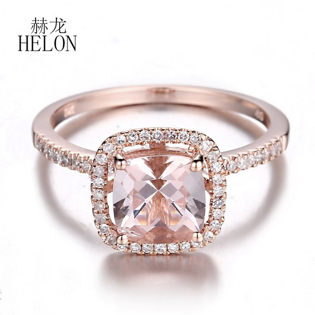 fd7b562bb8136 US $445.28 12% OFF|HELON 7x7mm Cushion Cut 1.5ct Natural Morganite 0.2ct  Diamond Fine Jewelry Halo Ring Solid 14K Rose Gold Engagement Wedding  Ring-in ...