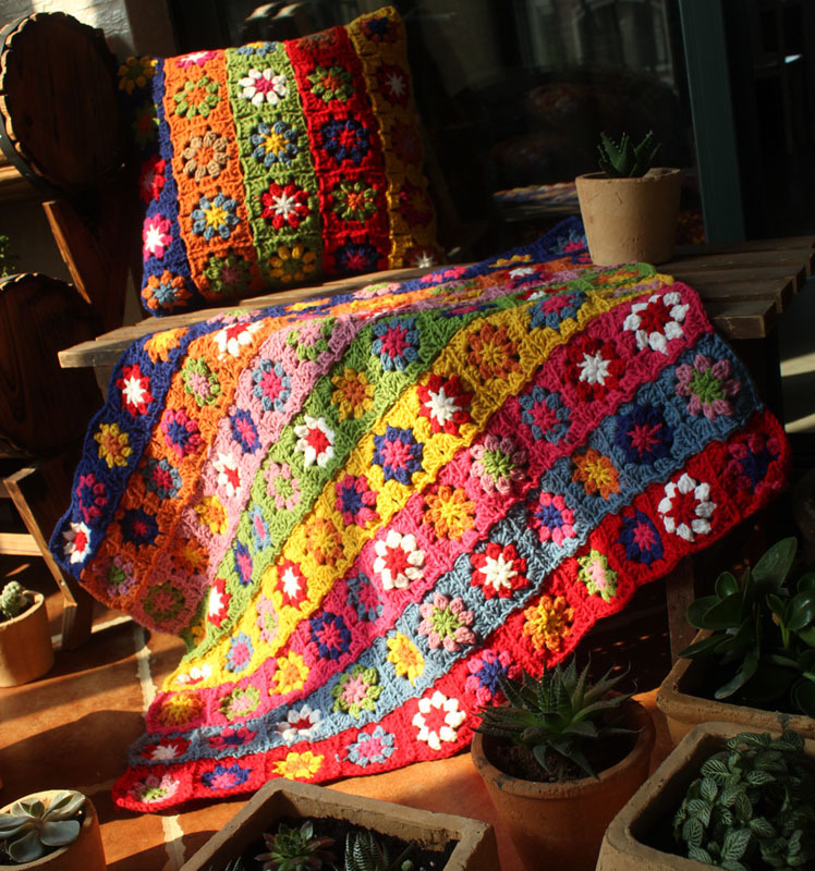 Level Handmade Crochet Yarn Baby Sheet Blankets Granny