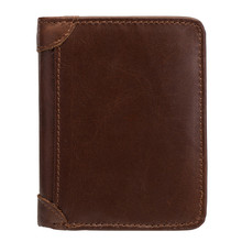 100% Genuine Cow Leather Wallet Men New Brand Purses for men Brown Bifold RFID Blocking Wallets Card Holder YouPi-569